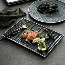 Assiettes plates steak de style nordique   Assiette de restaurant occidental haut de gamme plat rectangulaire en céramique noir et blanc, vaisselle de ménage