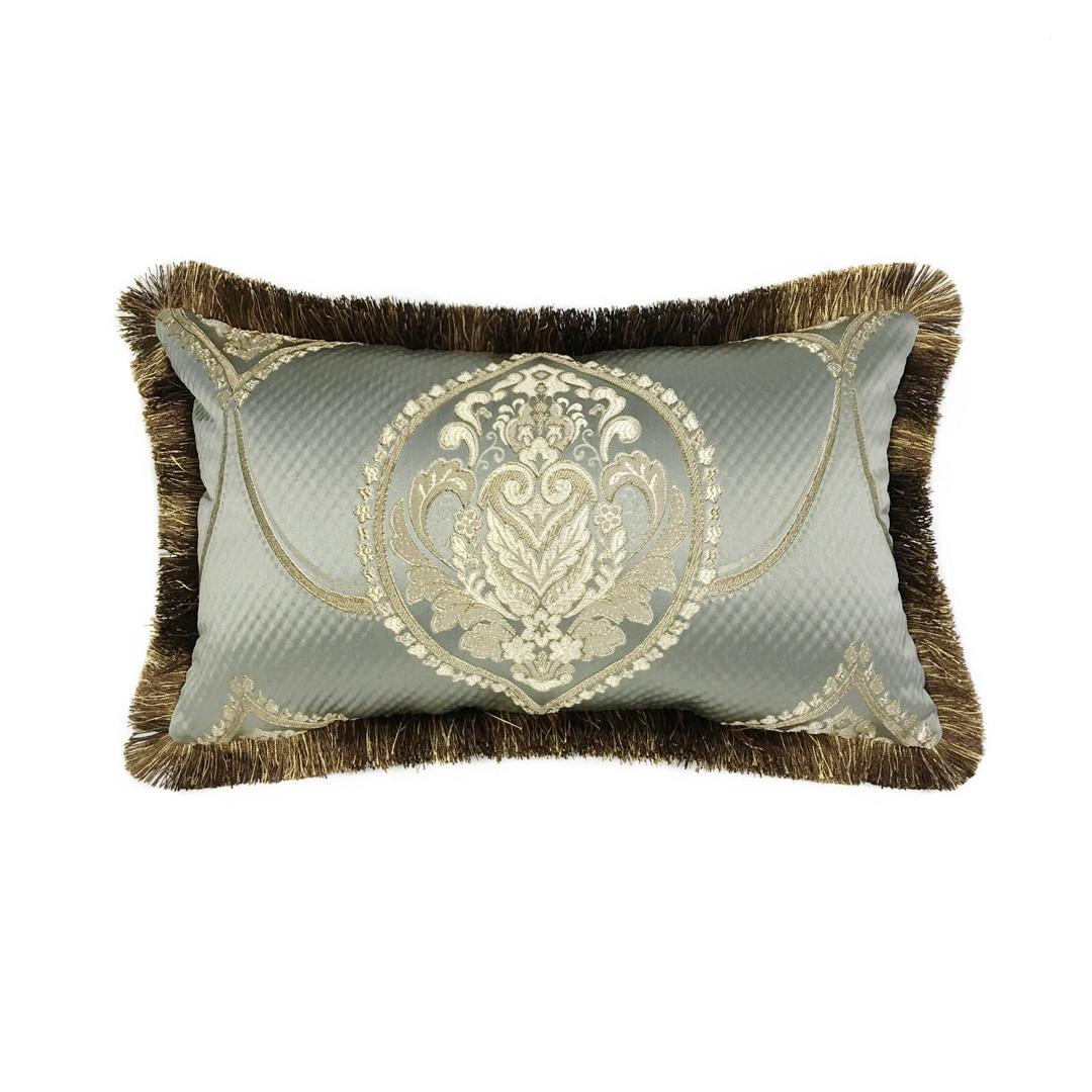 Luxuoso americano locational damasco cinza azul sofá cadeira capa de almofada tecido decorativo lombar travesseiro 45x45 cm & 30x50cm