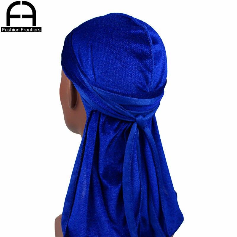 Los hombres de terciopelo de las mujeres Durag transpirable fina Bandanas turbante sombrero de cola larga olas tapa diadema ¿Du Rags