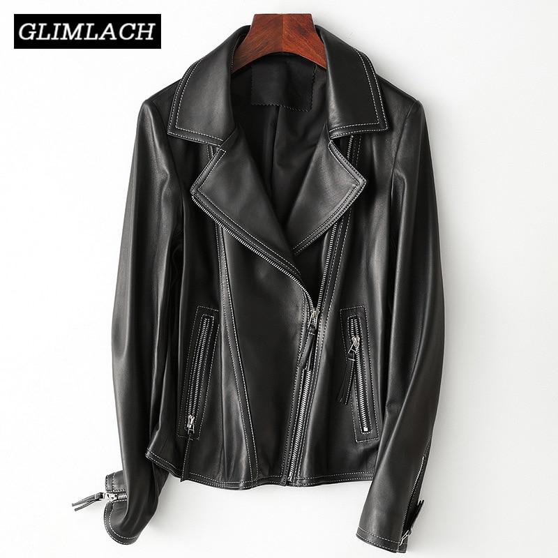 2019 nueva chaqueta de cuero de oveja Real de calidad de piel de cordero negro Slim Fit abrigo de cuero genuino solapa motocicleta prendas de abrigo de mujer