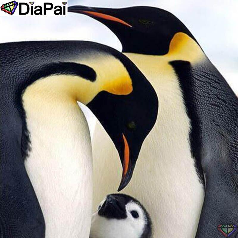 "DiaPai 5D DIY diamante pintura 100% cuadrado completo/taladro redondo ""Animal pingüino"" diamante bordado punto de cruz decoración 3D A22717"