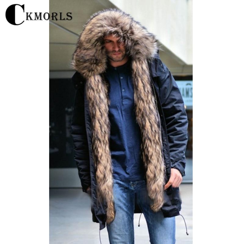 CKMORLS новая парка из натурального меха для мужчин зимняя куртка с воротником енота