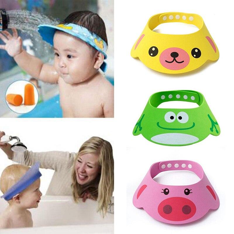 Nouveau chapeau à visière de bain pour enfants   Bonnet de douche pour bébé réglable, protection contre le shampooing, protection pour le lavage des cheveux, bonnet étanche pour enfants nourrissons #256643