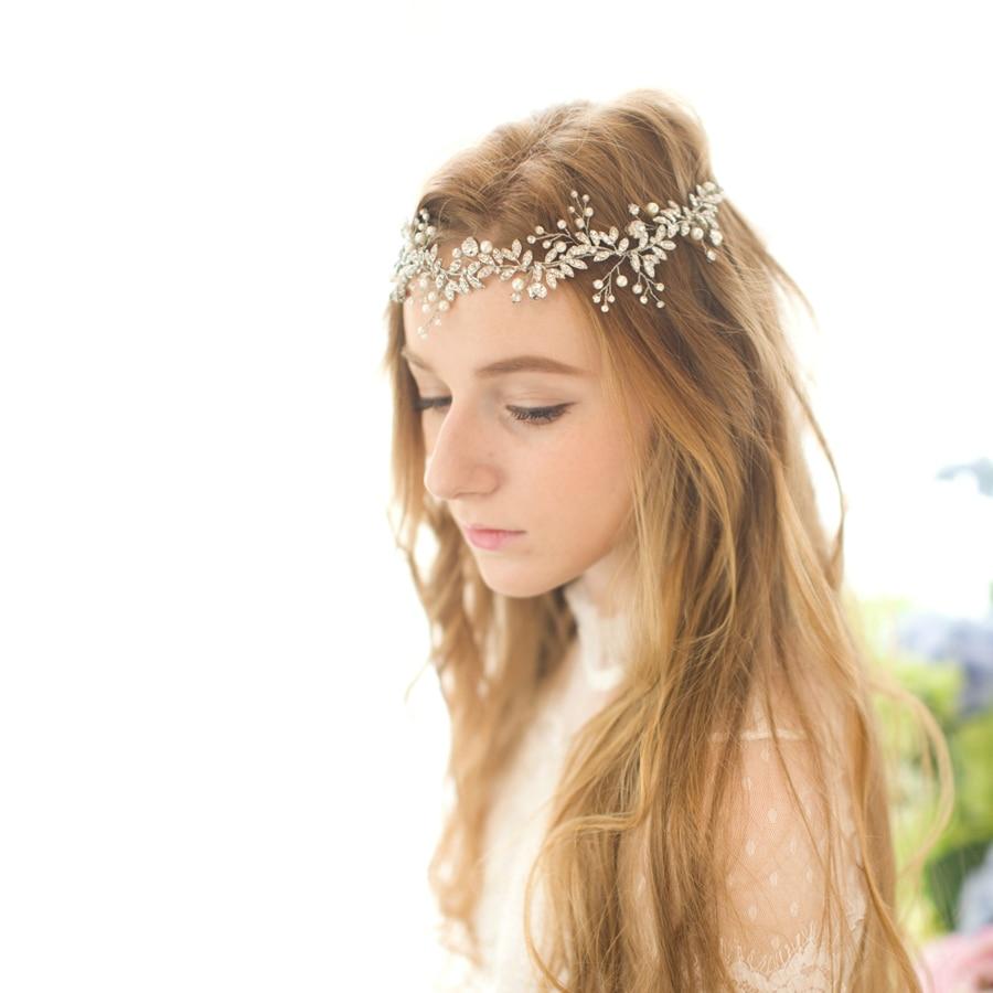 عصابة رأس للعروس مصنوعة يدويًا من حجر الراين والكريستال ، إكسسوار شعر ، مناسبة خاصة