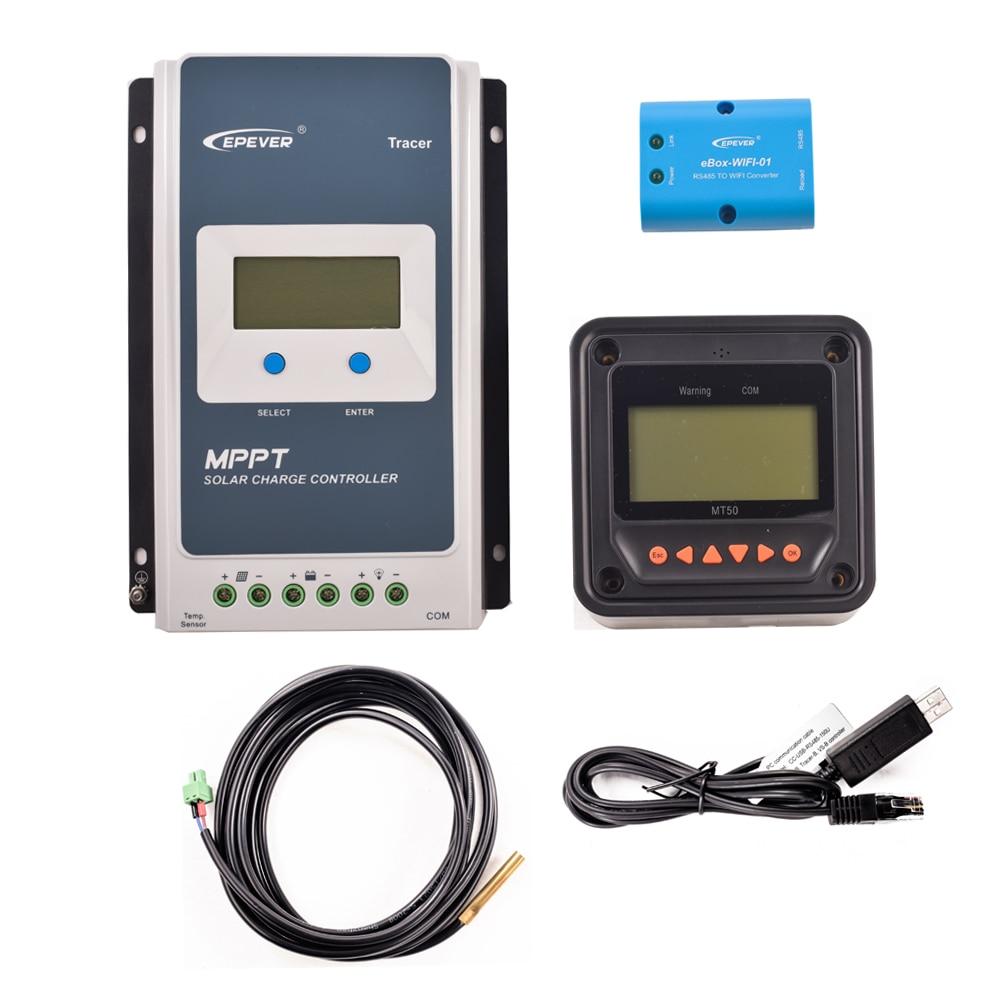 EPever 20A 2210AN MPPT Controlador de Carga Solar Preto-Luz LCD Regulador Solar para 12 v 24 v bateria de Chumbo Ácido bateria de lítio-ion