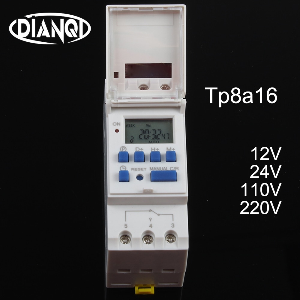 Temporizador digital para carril din TP8A16 electrónico programable semanal interruptor de tiempo del microordenador 220V 230V 6A-30A 12V AC campana