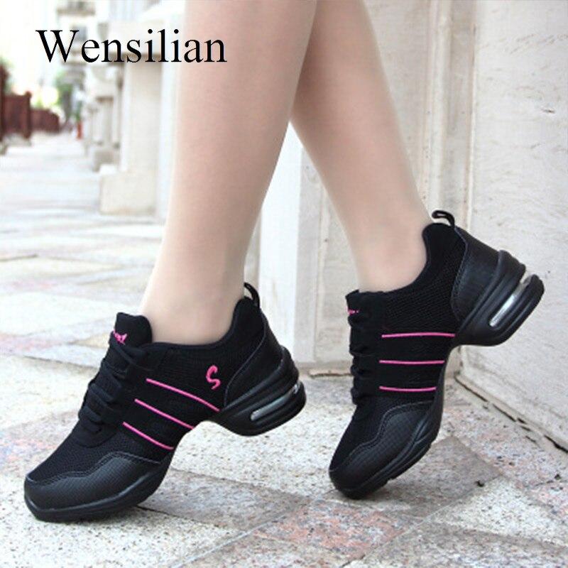 Zapatillas de deporte Jazz, zapatos de Mujer, Zapatillas de plataforma negras, Zapatillas transpirables de malla con cordones para Mujer, Zapatillas informales para Mujer