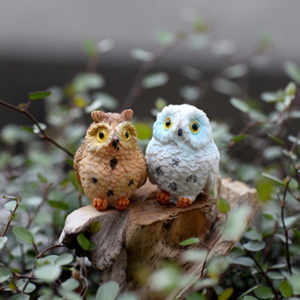 1 Pc Cute Night Owl Figures Miniature Figurine For Mini Fairy Garden Aquarium Dish Tank Animal Statue Resin Craft