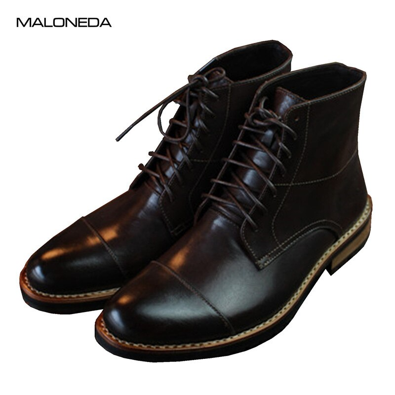 MALONEDE-جزمة جلدية جوديير للرجال ، أحذية قصيرة مصنوعة يدويًا ، مقاومة للماء ، برباط علوي ، أحذية رسمية