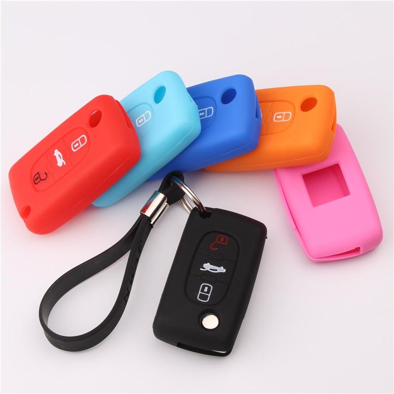 3 botões de silicone remoto caso chave do carro capa fob escudo proteger para peugeot 207 407 407sw remoto caso chave do carro chaveiro presente