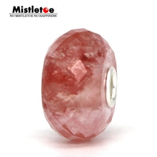 Mistletoe 925 Sterling Silver Faceted Natural Watermelon Quartz Stone Charm Bead Fit European Troll 3.0mm Bracelet Jewelry
