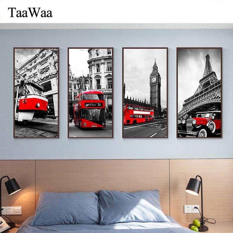 Londinense Paris Roma edificio conocido lienzo arte de pared impresiones coche rojo tram Tower Big Ben pintura decoración nórdica fotos decorativas