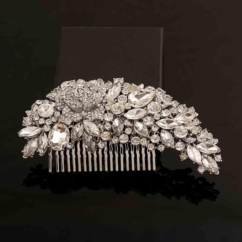 Cristales de diamantes de imitación transparentes, Accesorios nupciales para el cabello de novia para boda, accesorios de joyería para el cabello 2020 con diseño Floral