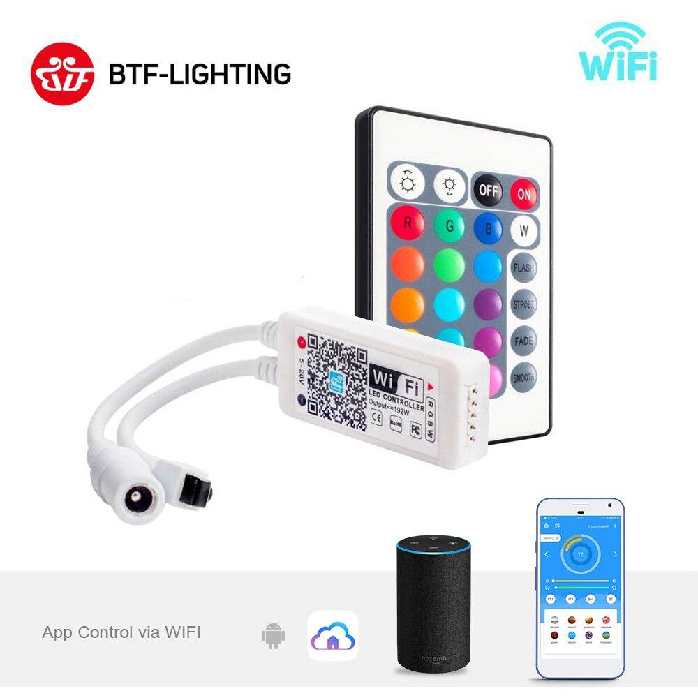DC5-28V Mini LED WiFi Light 5050 RGB RGBW Strip Bluetooth LED Controller Amazon Alexa Google Phone Voice IOS/Android APP Control
