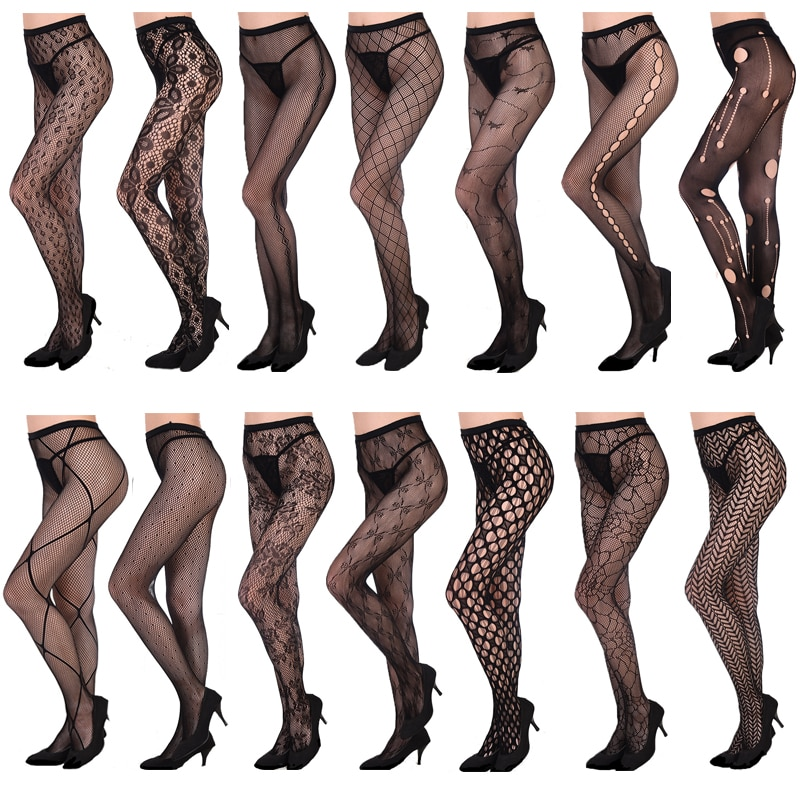 HSS Hollow Women Out Tights Sexy Lady Stockings Mesh Tattoos Jacquard High Fishnet Embroidery Transparent Black Lace Pantyhose black floral pattern jacquard pantyhose stockings