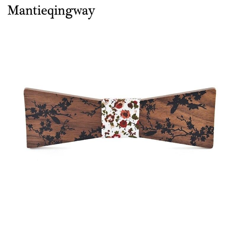 Mantieqingway para hombre pajarita de madera para hombre corbata de lazo de negocios para boda
