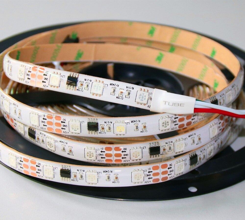 Promoção!! 5m dc12v ws2811 240 leds (16 pixes/m) tira digital led; impermeável no revestimento de silicone; ip66; pwb branco