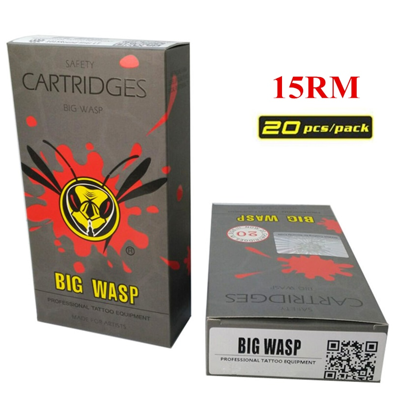 BIGWASP Disposable Gray Cartridge Needle 15 Curved Magnum (15RM) Tattoo Needle 20Pcs/Box Supply For Tattoo Machine