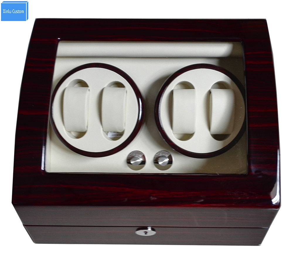 Global Fit Plug/Dry Battery Luxury Gift 4+6 Grids Storgae Mechanical Watch Winder Box Glossy Lacquer Wooden Leather Rotator Case