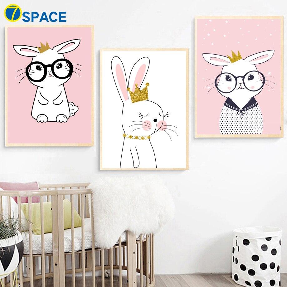 Kawaii Rabbit Wall Art Canvas Painting Nordic Posters And Prints Bunny Nursery Art Prints Wall Pictures Baby Girl Boy Room Decor