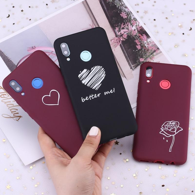 Силиконовый чехол для телефона Samsung S8 S9 S10 S10e Plus Note 8 9 10 A7 A8 Бургундия Сердце розы слезы конфеты чехол Капа Fundas Coque