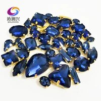 ink blue gold bottom mix shape top crystal glass sew on stonessuper flash claw rhinestone diyclothing accessories 58pcspack