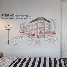 Autocollants muraux paysage City Street   Décoration de maison, Style européen, papier peint, affiche murale amovible, design romantique, Plan