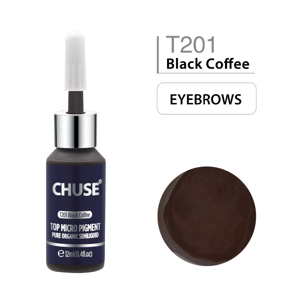 CHUSE Permanent Makeup Ink Black Coffee T201 Eyeliner Tattoo Ink Set Eyebrow Microblading Pigment Professional 12ML 0.4oz
