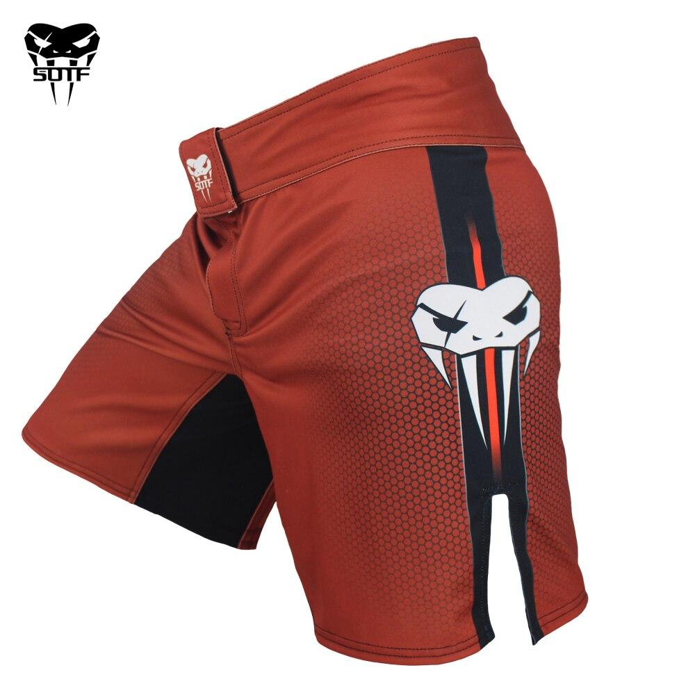 SOTF mma adultos venenosa prendas con diseño de serpiente lucha rojo geométrica pantalones de boxeo Tiger Muay Thai mma pantalones cortos pantalones de boxeo sanda