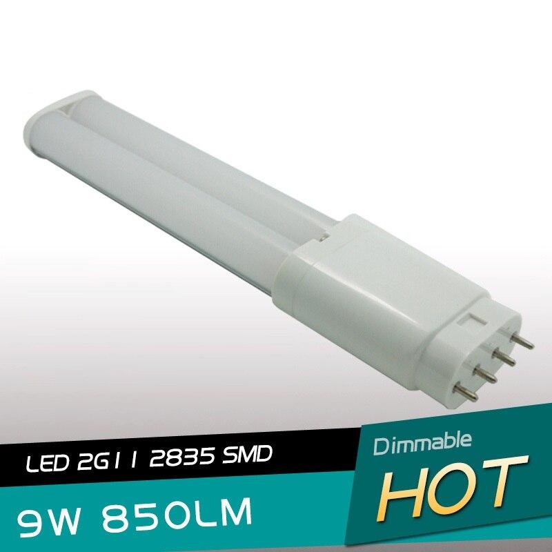 Lo más nuevo 2G11 led PL Luz 232mm 9 W tubo luz 327mm 12 W 4pin PL 2G11 lámpara SMD2835 AC85-265V DHL envío gratis
