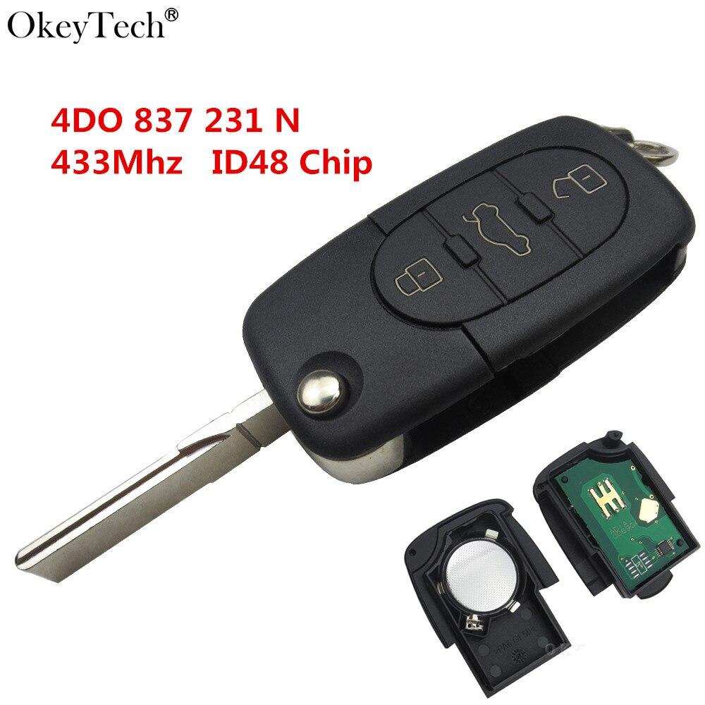 Okeytech 3 botão flip remoto chave completa inteligente chave do carro 433.92 mhz id48 chip para audi a6 s6 tt hu66 lâmina sem cortes 4d0 837 231 n