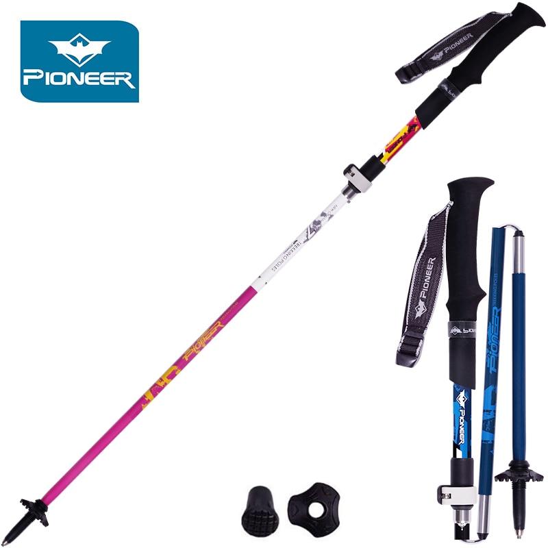 Pioneer Carbon Fiber Steel Walking Sticks Climbing Staff Folding Nordic Sticks Adjustable Cane trekking pole Hiking Bastones