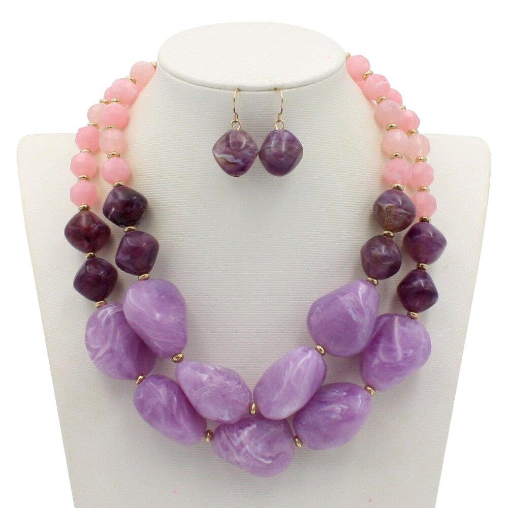 Ziris Bohemia Necklace and Earring Set Gold Plating Fancy Big Jewelry Acrylic Acetqate Resin Handmade Women Female  Gift