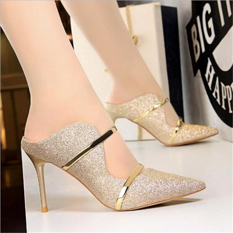 Bigtree Shoes Sexy Hollow Women Pumps Fashion Bling Wedding Shoes Gold Silver High Heels Women Shoes Kitten Heels Women Stiletto