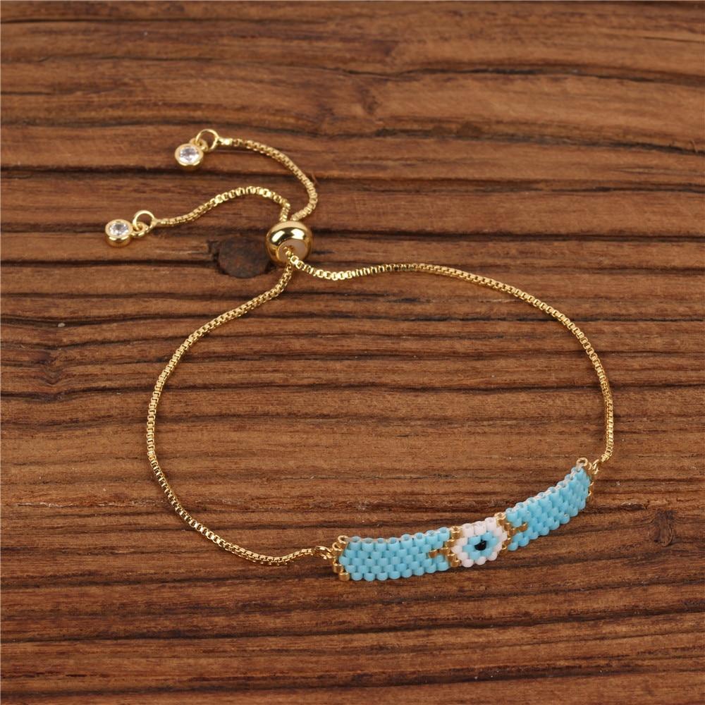 Trendy Miyuki Glass Beads Handmade Bracelet Women Charm Evil's Eye Pattern Slide Bracelets Female Girl Friendship Jewelry
