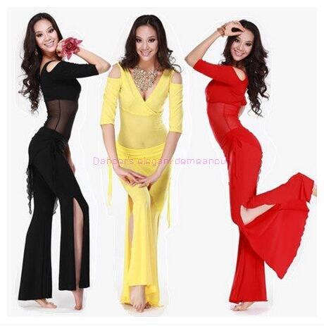 Novo estilo de dança do ventre traje conjunto sexy leite seda superior + calças cintura 2 pçs/terno para mulheres conjuntos dança do ventre 6 tipos de cores