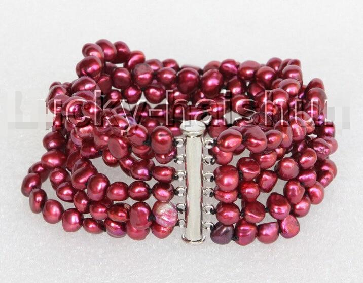 """8 """"8mm 6row barroco vino rojo perlas pulsera Cierre magnético j11128 @ ^ estilo Noble Natural joyería fina envío Gratis"""