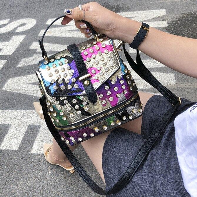 Mini Women Backpack Punk Diamonds Shoulder Bags for female Camouflage Pattern Backpacks for Teenage Girls PU Leather Daypack bao
