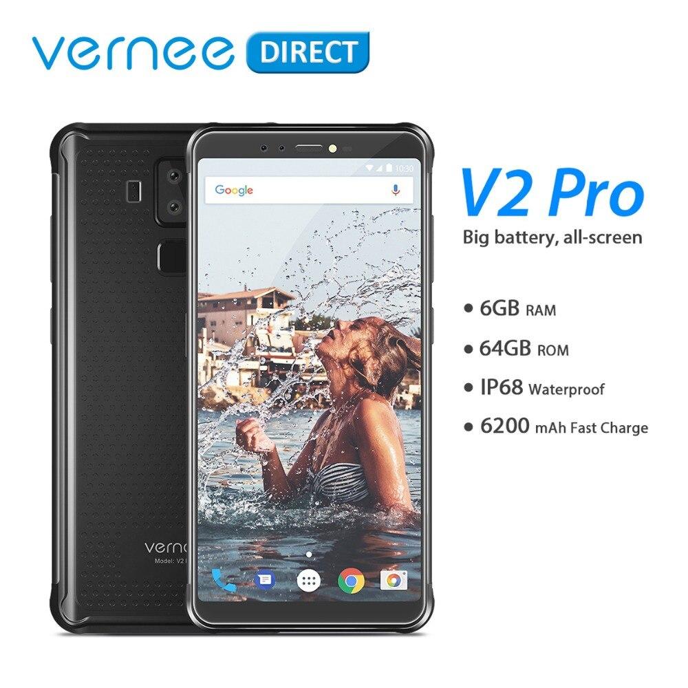Globale Version Vernee V2 Pro IP68 Wasserdichte Robuste Handy Android 8,1 6GB RAM 64GB ROM NFC Zelle telefon 6,0 Zoll 6200mAh