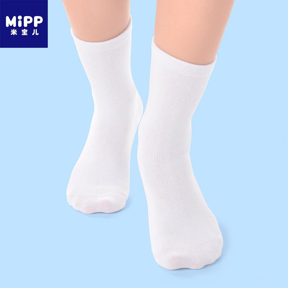 6 par/lote MIPP calcetines de bebé blanco chico primavera suave algodón niños para niños niñas deporte estudiantes calcetines cosido a mano sin hueso