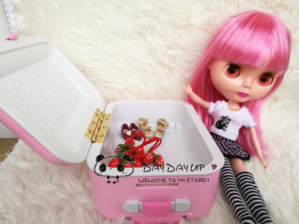 Envío Gratis, accesorios para muñeca de moda 1/6, equipaje de viaje para muñeca Blyth Azone Momoko licca, accesorios de muñeca bjd toys girl