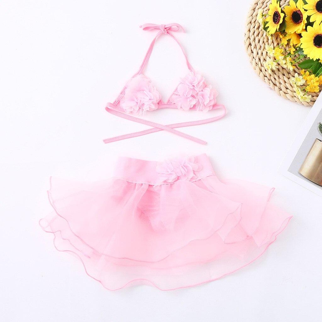 Verano niños bebé niña estampado Floral chaleco tul traje de baño trajes de baño Bikini maillot bain fille niños traje de baño para niñas