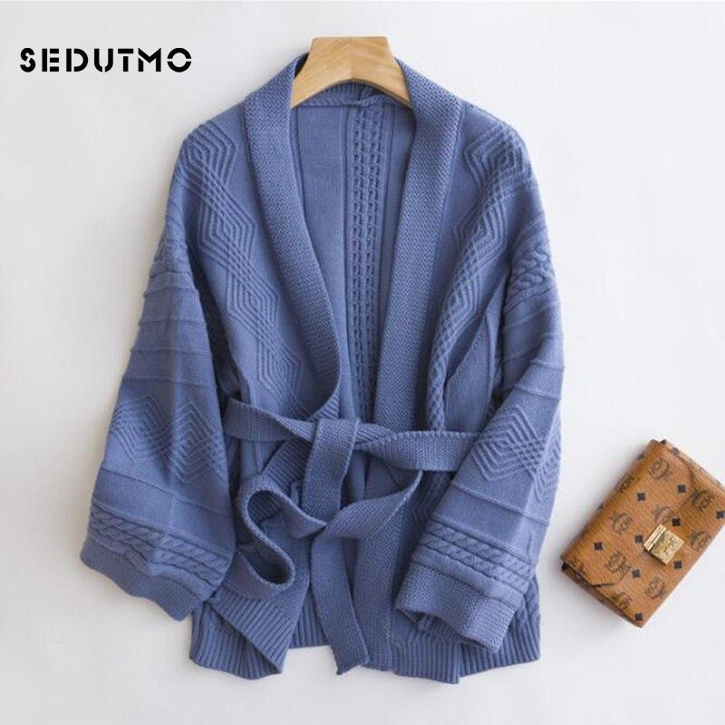 SEDUTMO, suéter de ganchillo para invierno, cárdigan para mujer, suéter tipo Kimono de gran tamaño, Otoño, manga larga, negro, Vintage, Top corto ED433