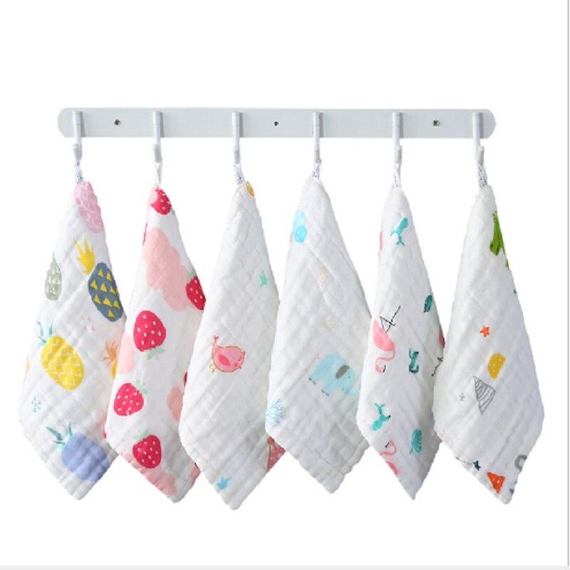 3pcs/lot Baby Muslin Face Towel Baby Cartoon Soft Cotton 6 layers Gauze Handkerchief Infant Baby Feeding Square Towel 30*30cm