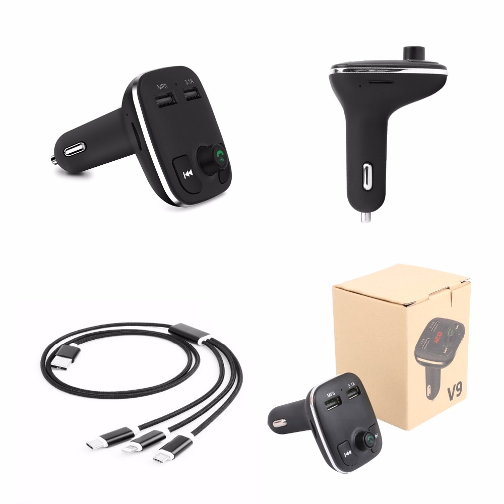 Car BT Adapter Battery Tester Fm Transmitter Mp3 Player 3.1A Usb Car Charger with Usb Charging Cable 3-in-1