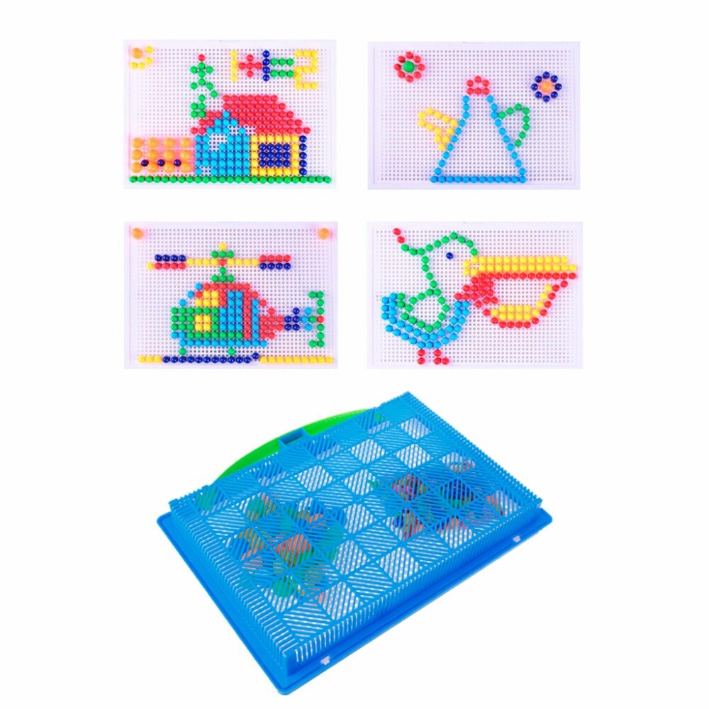 HBB Children Mushroom Nails Peg Puzzle Jigsaw Puzzle Creative Mosaic Pegboard