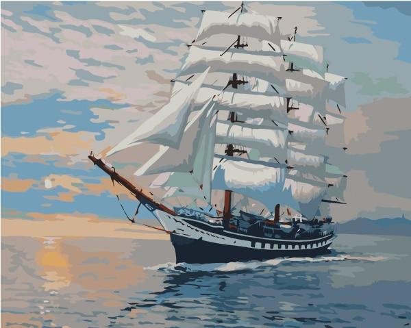 Cuadros de decoración de pared sin marco pintura por números lienzo pintado a mano pintura al óleo abstracta 40*50cm barco de vela