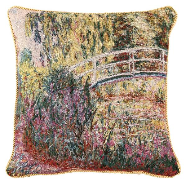 Funda de cojín artística doble de tejido Jacquard, funda de cojín, funda de cojín dorada, funda de cojín Claude Monet Water lirios Poppie