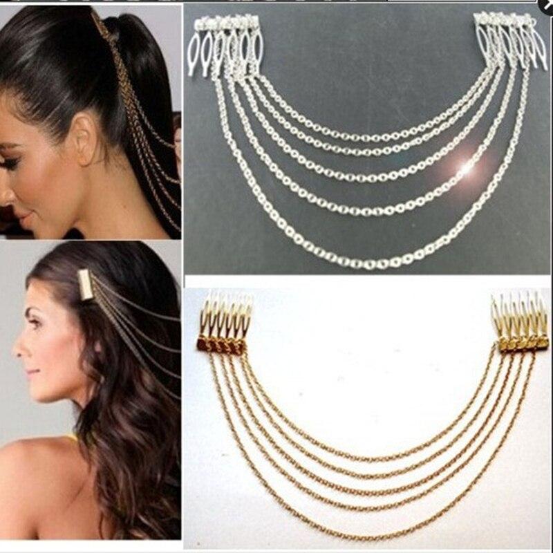1 piece women lady bohemian crown, gold metal chain tassel head headband jewelry headgear hair ribbon