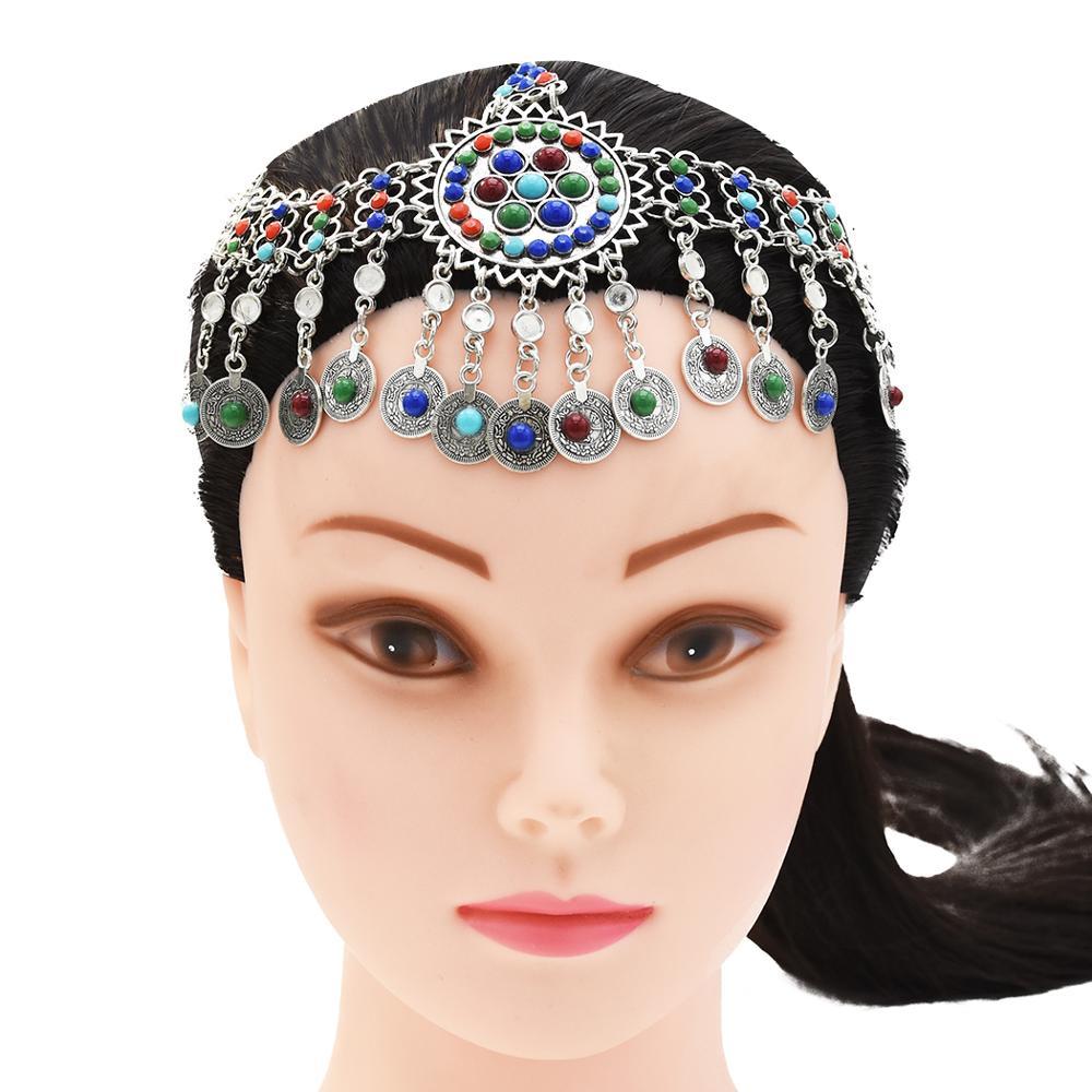 Retro bohemia moeda grânulo colar gota brincos afegãos pulseira cabeça corrente headpiece tribal étnica cigana índia jhumka conjunto de jóias